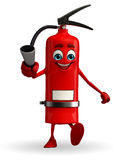 Fire Extinguisher character is walking Stock Photo
