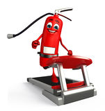 Fire Extinguisher character with walking machine Royalty Free Stock Photo