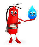 Fire Extinguisher character with water drop Stock Photos