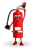 Fire Extinguisher character is working Royalty Free Stock Photography