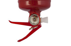 Fire extinguisher close-up. Red fire extinguisher isolated on white Royalty Free Stock Image