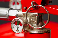 Fire Extinguisher. Close up on pressure gauge for servicing royalty free stock images