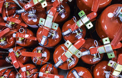 Fire extinguisher. Closeup top view of red tank Fire extinguisher stock photo