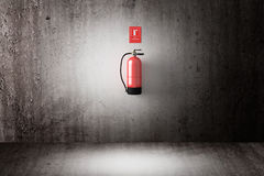 Fire extinguisher. 3d rendering of a fire extinguisher on a dirty wall Royalty Free Stock Image