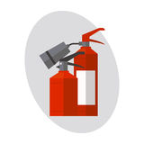 Fire extinguisher danger protection security help equipment pressure flammable vector illustration. Royalty Free Stock Image