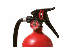Fire Extinguisher Detail. On white background Stock Photos