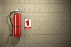 Fire extinguisher with emergency fire sign on the wall backgroun. D. 3d illustration Royalty Free Stock Photos