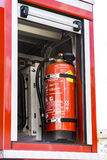 Fire extinguisher of a fire truck on a firefighting show Royalty Free Stock Photos