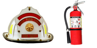 Fire Extinguisher and Firefighter hat isolated Stock Image