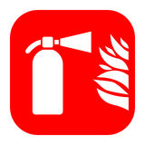 Fire extinguisher and flame sign. Fire extinguisher and flame vector sign Royalty Free Stock Photos