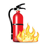 Fire extinguisher with flames. On white background Stock Images