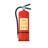 Fire Extinguisher Flat Style Vector Illustration. Fire extinguisher colorful flat style vector illustration, icon isolated on white. Fire protection, safety Stock Photo