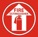 Fire Extinguisher Floor Sign on white background,Vector illustration. Equipment safety protection danger alarm emergency security red firefighter system vector illustration