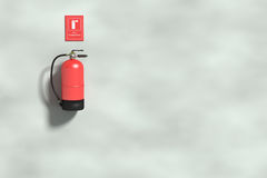 Fire extinguisher on grey wall Royalty Free Stock Photo