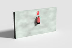 Fire extinguisher on grey wall Stock Images