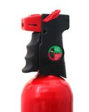Fire Extinguisher Grip and Nozzle. Close Up of Fire Extinguisher Gauge, Grip and Nozzle Stock Photo