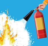 Fire extinguisher in hand with foam. Fire equipment. Vector illustration in flat style Stock Photo