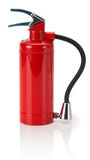Fire extinguisher with hose isolated on the white background Stock Photography