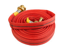 Fire extinguisher hose pipe. Roll of fire extinguisher hose pipe with hydrant connecter hose Stock Images