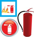 Fire extinguisher with icon Stock Photography