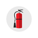Fire extinguisher icon cartoon style. Single silhouette fire equipment icon. Vector illustration. Flat style. Stock Photo