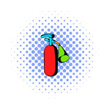 Fire extinguisher icon, comics style. Fire extinguisher icon in comics style on a white background Stock Photography