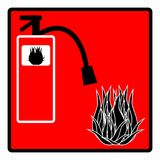 Fire extinguisher icon isolated on red background. Vector illustration Stock Photos