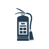 Fire extinguisher icon. Isolated on white background. Vector illustration flat design style. Tools essentials during the fire. Silhouette, pictogram fire Royalty Free Stock Photo