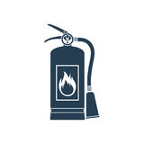 Fire extinguisher icon. Isolated on white background. Vector illustration flat design style. Tools essentials during the fire. Silhouette, pictogram fire Stock Photos