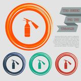 Fire extinguisher Icon on the red, blue, green, orange buttons for your website and design with space text. Illustration Stock Photo