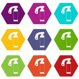 Fire extinguisher icon set color hexahedron Royalty Free Stock Photo