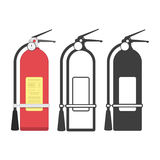 Fire extinguisher icon set. Set of fire equipment icons from the fire department. Vector illustration EPS 10 Stock Images