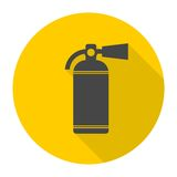 Fire extinguisher icon set with long shadow. Vector icon Stock Image