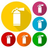 Fire extinguisher icon set with long shadow Royalty Free Stock Images