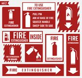 Fire extinguisher labels and signs Stock Photos