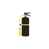 Fire extinguisher icon. Single silhouette fire equipment icon. Vector illustration. Flat style. Stock Image