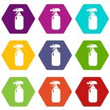 Fire extinguisher icons set 9 vector. Fire extinguisher icons 9 set coloful isolated on white for web Royalty Free Stock Image