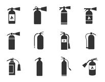 Fire extinguisher icons set Royalty Free Stock Photos
