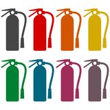 Fire extinguisher icons set Stock Photography