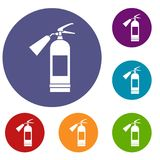 Fire extinguisher icons set. In flat circle reb, blue and green color for web Stock Photography