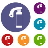 Fire extinguisher icons set. In flat circle red, blue and green color for web Stock Photo