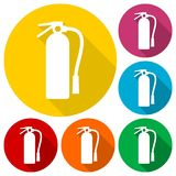 Fire extinguisher icons set with long shadow. Vector icon Royalty Free Stock Image