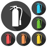 Fire extinguisher icons set with long shadow. Vector icon Royalty Free Stock Photos