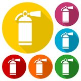 Fire extinguisher icons set with long shadow Stock Photos