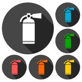 Fire extinguisher icons set set with long shadow. Vector icon Stock Photo