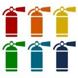 Fire extinguisher icons set Royalty Free Stock Image