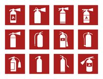 Fire extinguisher icons Royalty Free Stock Image