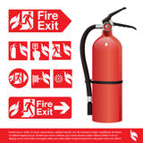 Fire Extinguisher. Illustration, fire exit signage on white background Stock Photos