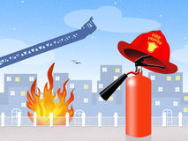 Fire extinguisher. Illustration of fire extinguisher for security Royalty Free Stock Photos
