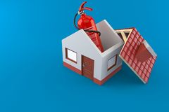 Fire extinguisher inside house. Isolated on blue background. 3d illustration Stock Photography